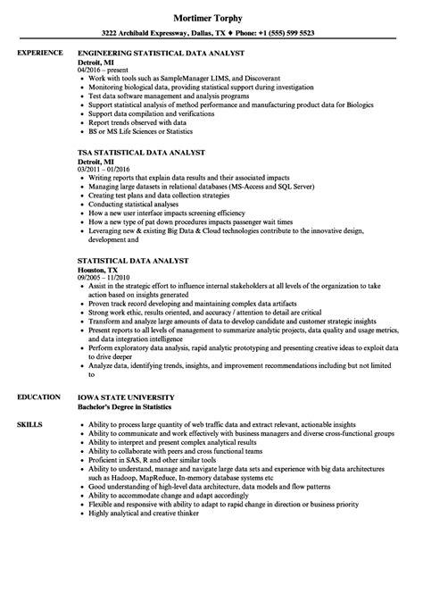 Resume Statistics by Statistical Data Analyst Resume Sles Velvet