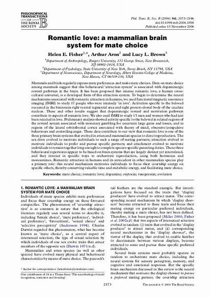 Mammalian Mate Brain Romantic Choice System Academia