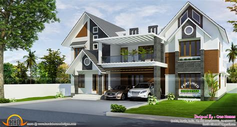 open ranch style floor plans modern sloped roof home kerala home design and floor plans