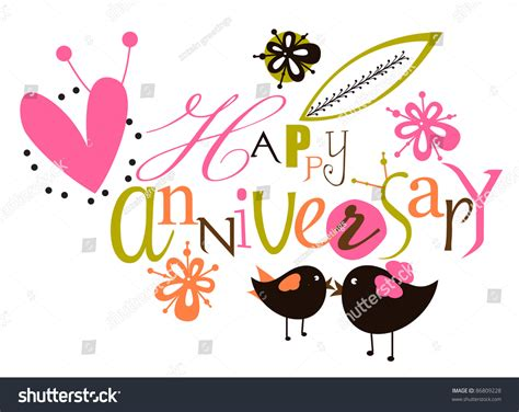 happy anniversary script card stock vector