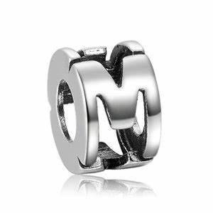 pandora silver letter m charm With pandora letter m charm