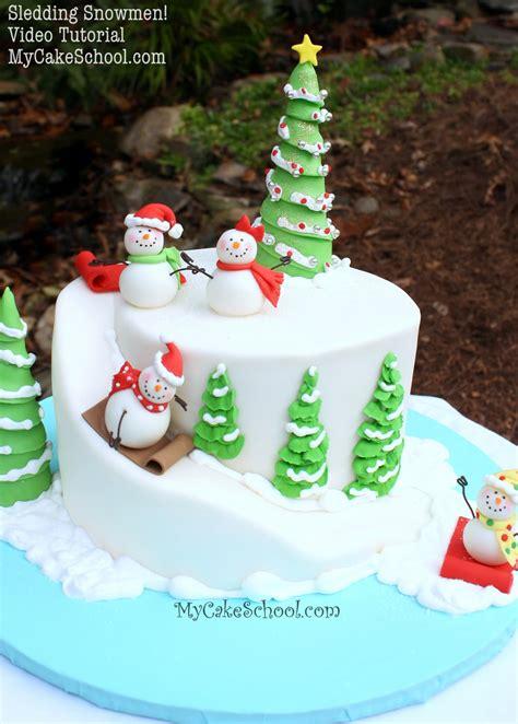 sledding snowman  carved cake video tutorial  cake