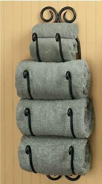bathroom towel holder Park Designs Decorative Scroll Bath Towel Holder Black ...