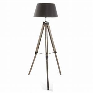 Trépied En Bois : lampadaire tr pied bois 145cm noir ~ Teatrodelosmanantiales.com Idées de Décoration
