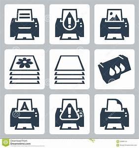 Vector Printing, Printer Icons Set Stock Vector ...