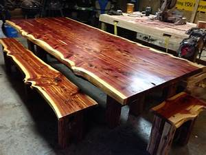 cedar table live edge table cedar dining set farm table With live edge cedar coffee table