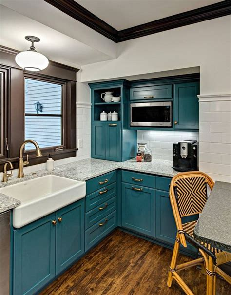 White And Teal Kitchen Cabinets