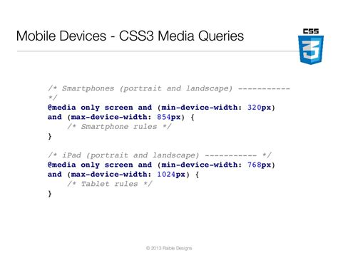 Css Mobile Devices by Mobile Devices Css3 Media