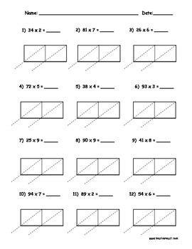 Lattice Multiplication 2 Digit By 1 Digit  10 Pages By Teacher Vault