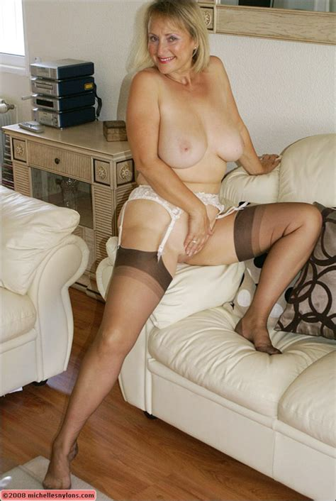 Big Titted Old Woman In Stockings Takes Off Her Panties