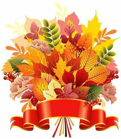 Autumn Clipart Leaves Bouquet Banner Fall Transparent