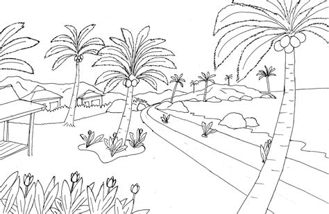 Coloring Pemandangan by Gambar 55 Gambar Mewarnai Images Coloring Pages