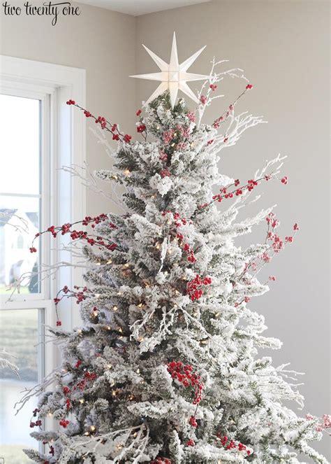 red  white flocked christmas tree