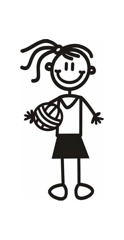 Netball Stick Clipart Colouring Volleyball Figures Sport