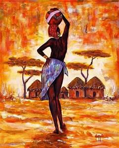 Cuadros Modernos Pinturas y Dibujos : Paisaje con Negras Africanas Cuadros Modernos