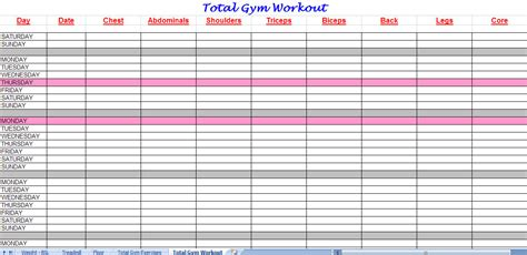 Workout Plan Template Excel 3 Excel Workout Templates Excel Xlts