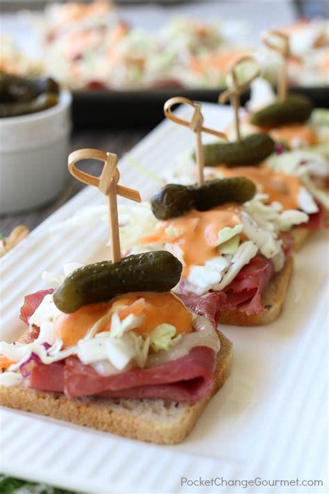 dip canapes mini reuben appetizers pocket change gourmet