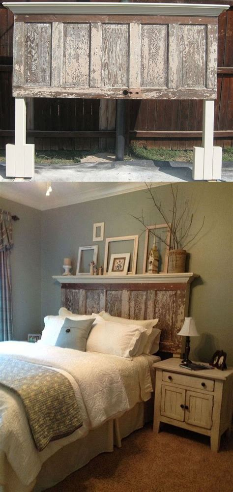 Country Bedroom Decorating Ideas Pictures by 90 Year Door Made Into A Headboard To Fit Both A King