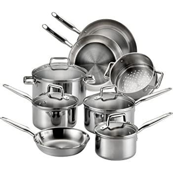 amazoncom  fal csa elegance stainless steel cookware set  piece silver kitchen dining