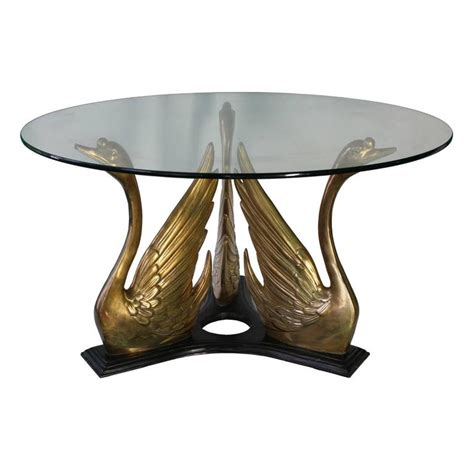 Hollywood Regency Style Glass Top Coffee Table With Brass