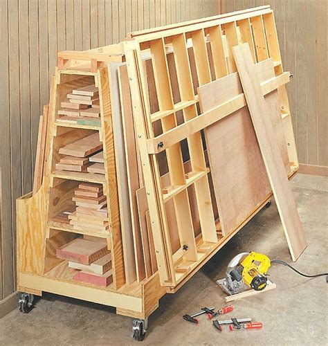 roll  lumber cart cutting station workshop plans storage pinterest cuttings