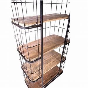 Etagere Industrielle Metal : etag re cage vintage industrielle m tal vieux bois le d p t des docks ~ Melissatoandfro.com Idées de Décoration