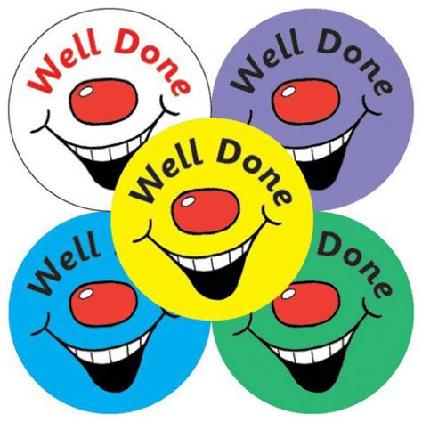 Well Done Images Well Done Smiley Stickers