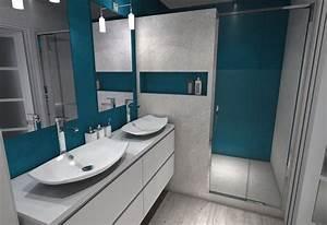 Beton Hydrofuge Pour Salle De Bain : cr ation d 39 une salle de douche en b ton cir gris et bleu ~ Edinachiropracticcenter.com Idées de Décoration