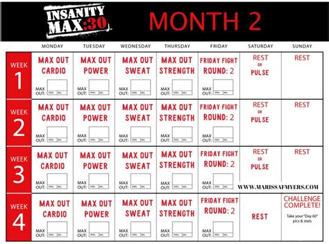 preview insanity max max  cardio workout meal plan