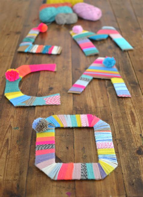 Yarn Wrapped Cardboard Letter: Super Quick DIY Craft for