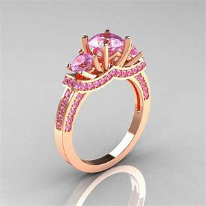 french 14k rose gold three stone light pink sapphire With light pink wedding rings