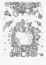 Space Coloring Adults Clipart Doodle Spaces Netclipart sketch template