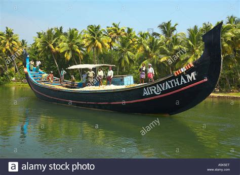 Fishing Boat In Kerala by Backwaters In Kerala Fishing Boat India Stock Photo