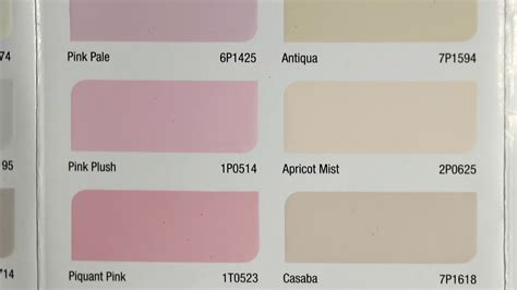 different shades and chromatic ranges of paint colour