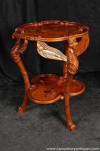 Art, Nouveau, Walnut, Dragonfly, Side, Table, Galle, Tables