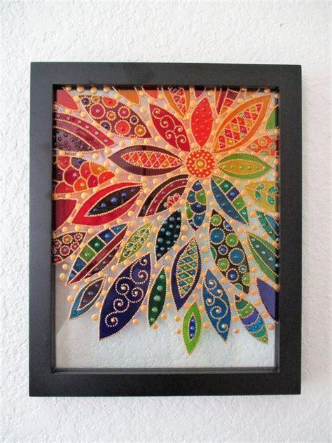 abstract flower art  glass painting bohemian decor sun catcher painted glass wall art