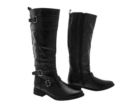Knee Boots : Womens Buckle Riding Boots Knee High Faux Leather Black