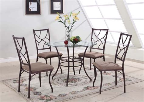 glass kitchen table with 4 chairs 5 pc set glass metal dining room kitchen dinette