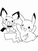Pikachu Pichu Coloring Together Drawing Playing Colorluna sketch template