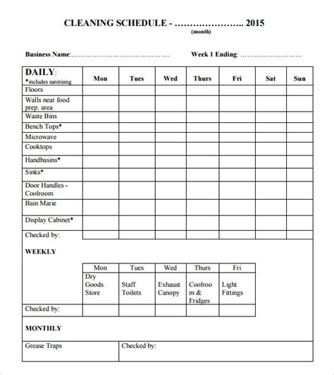 Cleaning Schedules Templates by Cleaning Schedule Template Cyberuse