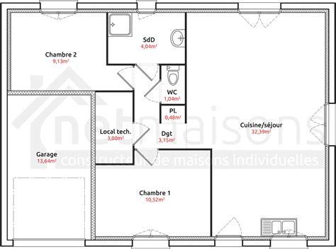 plan de maison 2 chambres modele maison plain pied 2 chambres ventana