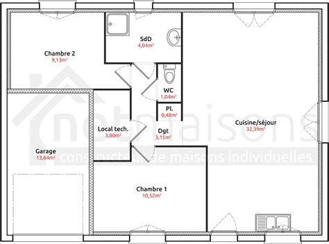 plan maison plain pied 4 chambres garage modele maison plain pied 2 chambres ventana