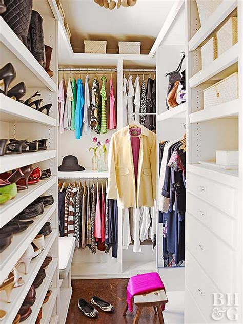 Narrow Walk In Closet Organization Ideas by Walk In Closet Organization Better Homes Gardens