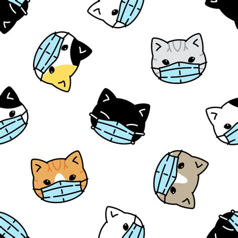 cat seamless pattern kitten face mask coronavirus covid