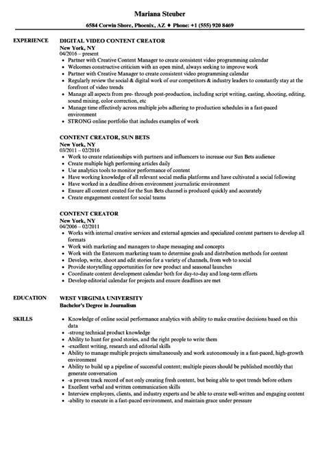Resume Content Creator content creator resume sles velvet