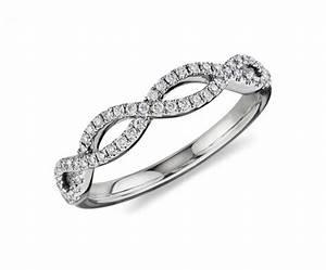 infinity twist micropave diamond wedding ring in 14k white With infinity twist wedding ring