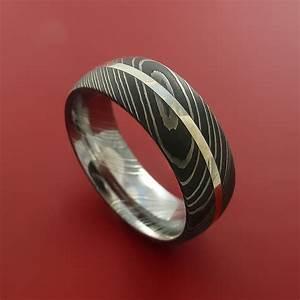 Damascus Steel Ring And Palladium Inlay Wedding Band
