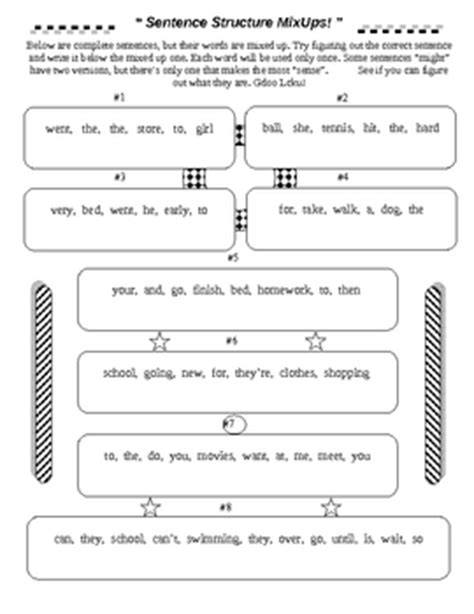 sentence structure mixups by david filipek teachers pay teachers