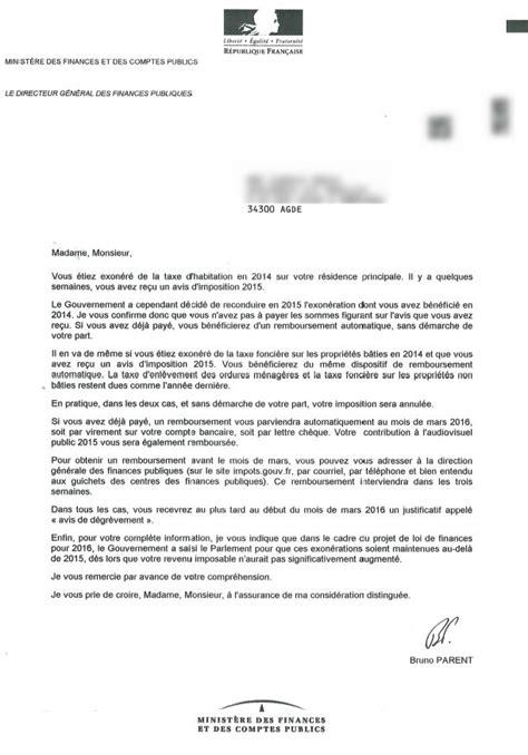 modele lettre reclamation taxe habitation erreur lettre impots erreur taxe habitation