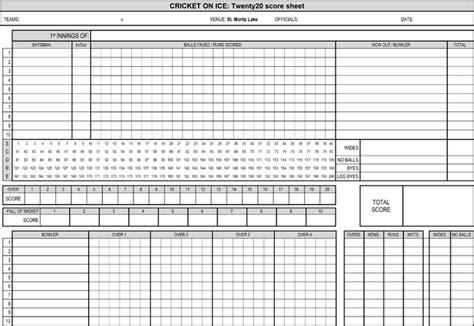 printable cricket score sheets